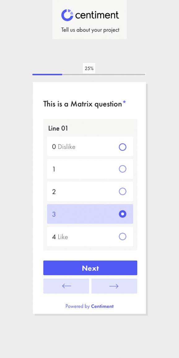 Interfaz de la pregunta matrz..