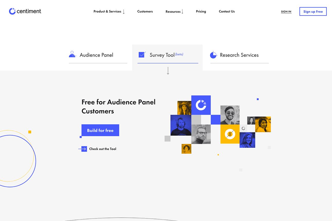 Interfaz de la página de precios del panel de usuarios de Centiment.co