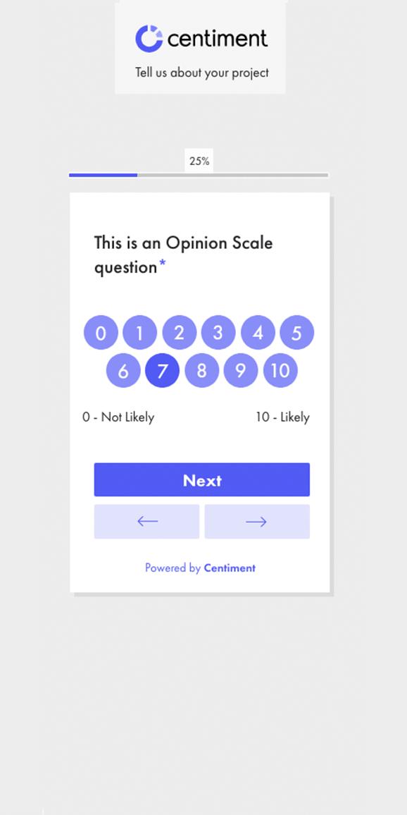 Interfaz de la pregunta de valoración de la app de Centiment.co
