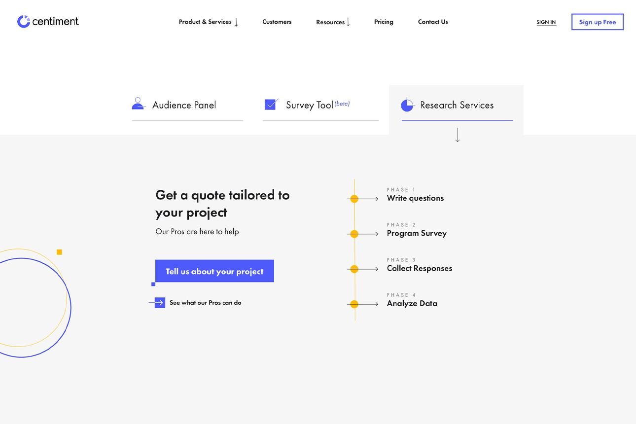 Interfaz de la página de precios de los servicios profesionales de Centiment.co