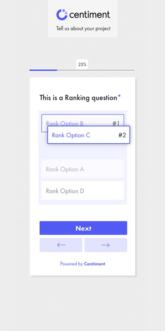 Interfaz de la pregunta de ranking de la app de Centiment.co