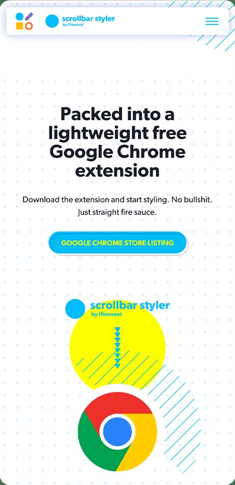 Interfaz del sitio de marketing móvil mostrando la extensión de chrome.