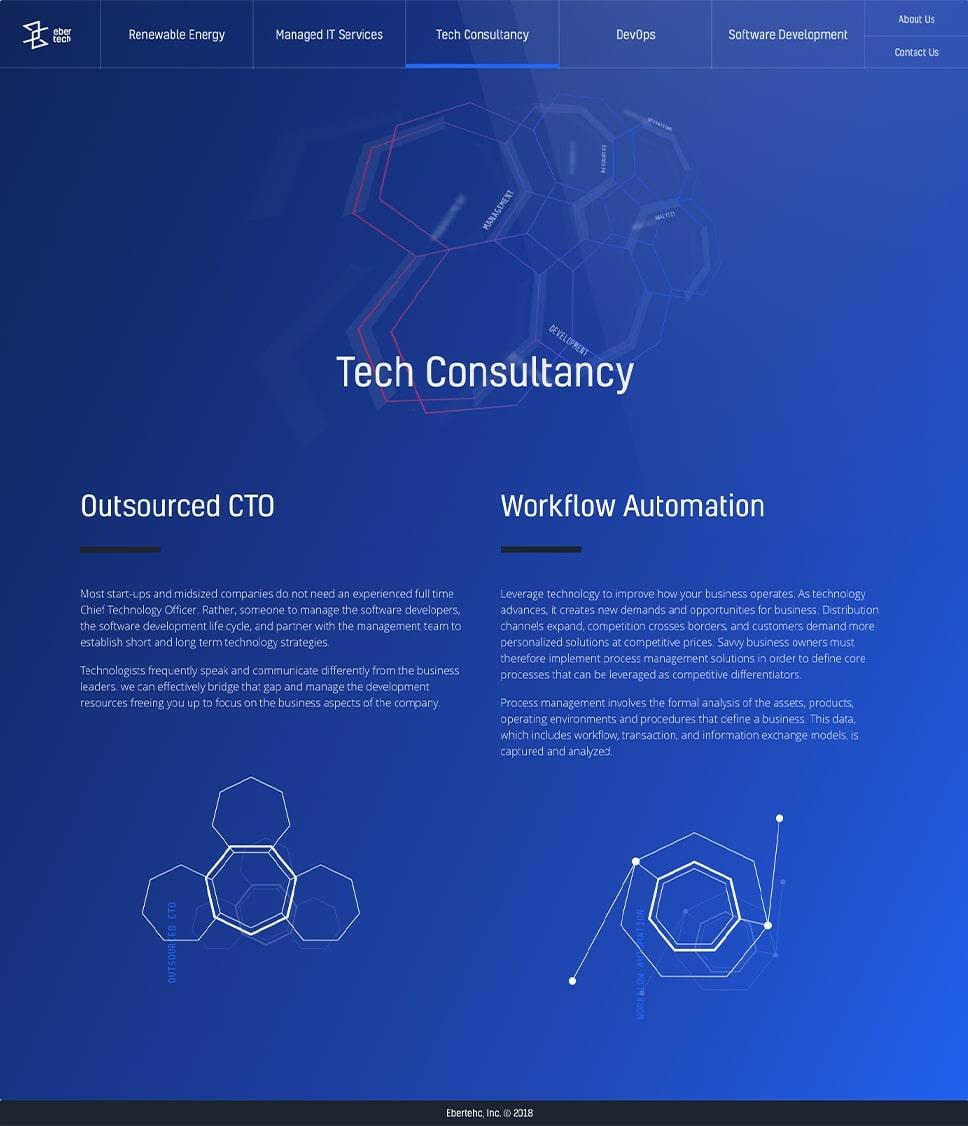 Diseño web consultoría técnica Ebertech.