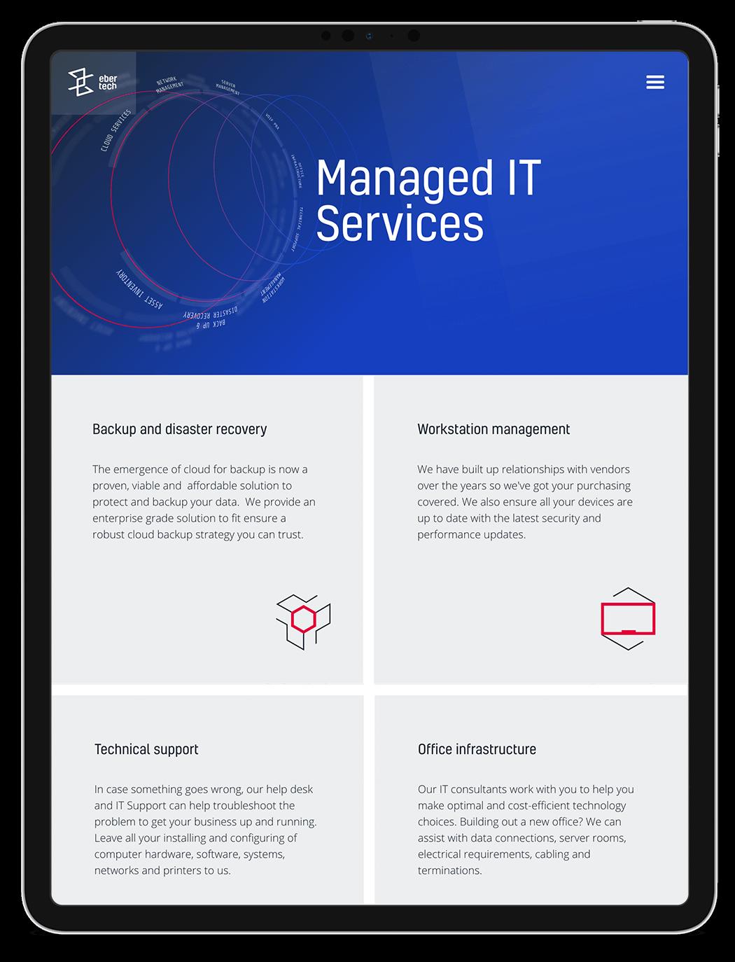 Diseño web servicios IT Ebertech en iPad.