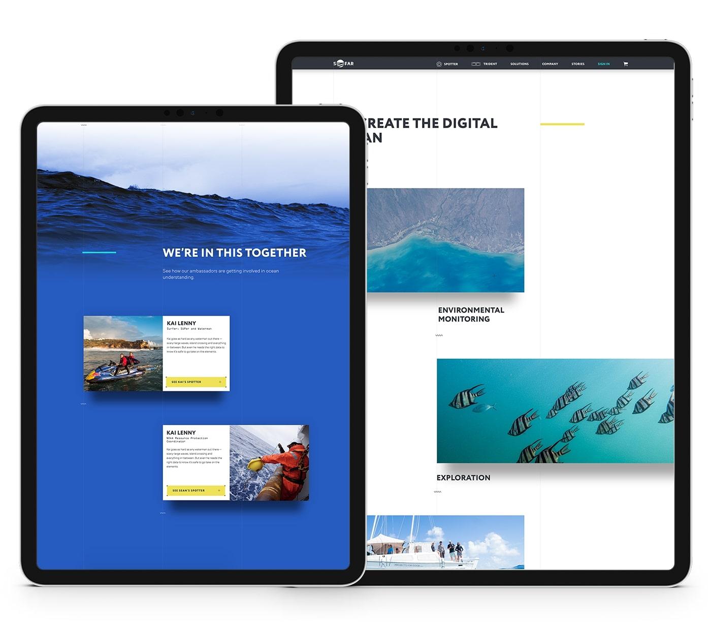 Diseño web del sitio de Sofar Ocean en tablet por El Patio Webflow Studio