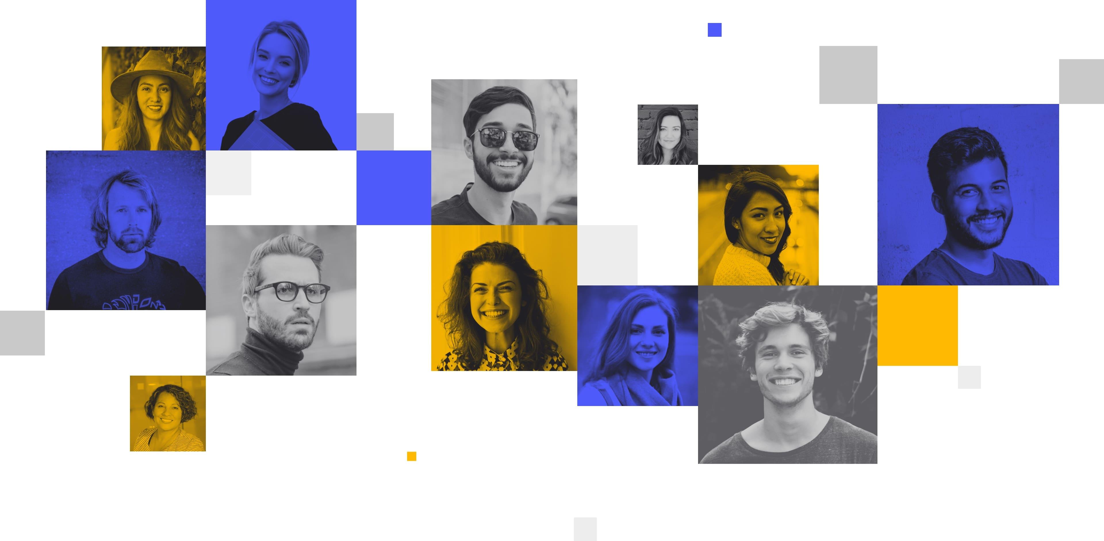 Diseño de patrón decorativo con caras de encuestados para Centiment por El Patio Webflow Studio.
