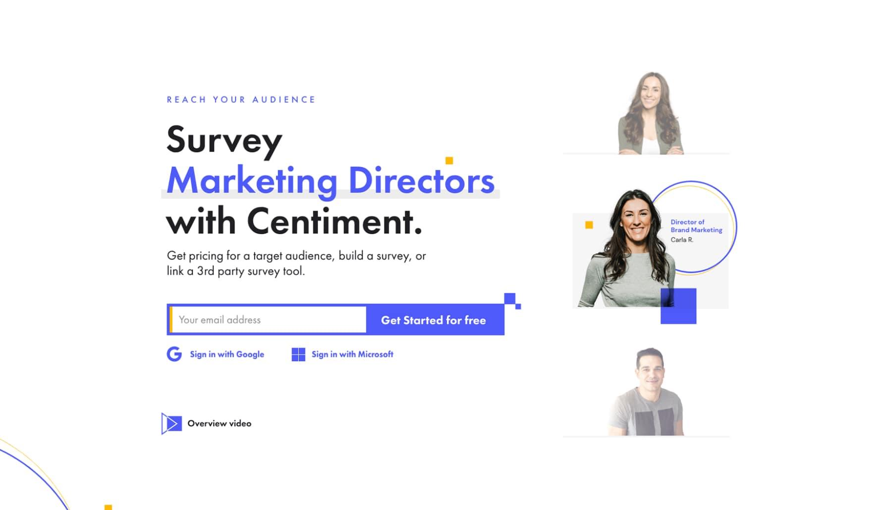 Interfaz de cabecera de página de la sección principal de la página de marketing de centiment.co.