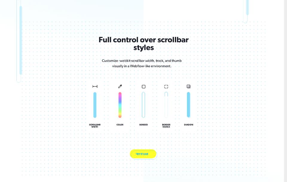 Interfaz del sitio de marketing mostrando los controles de estilos.