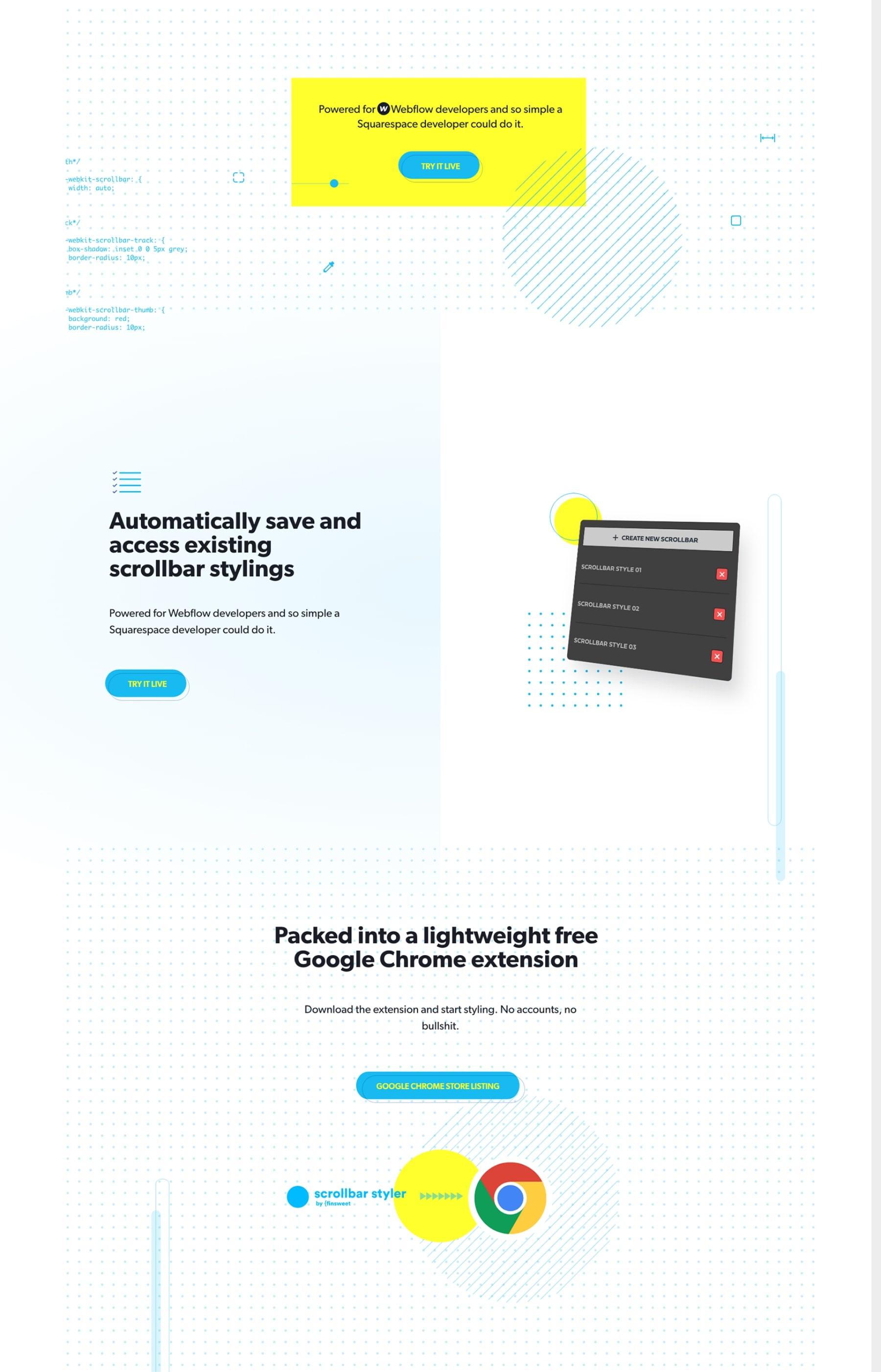 Diseño web de la homepage de Finsweet Scrollbar Styler por El Patio Webflow Studio.