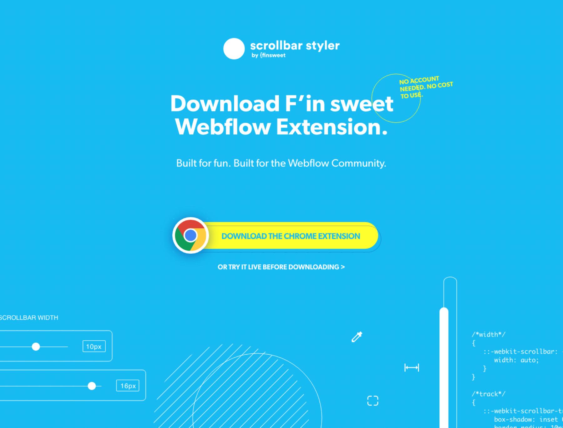Diseño web de llamada a la acción de la extensión Scrollbar Styler para Finsweet.com por El Patio Webflow Studio.