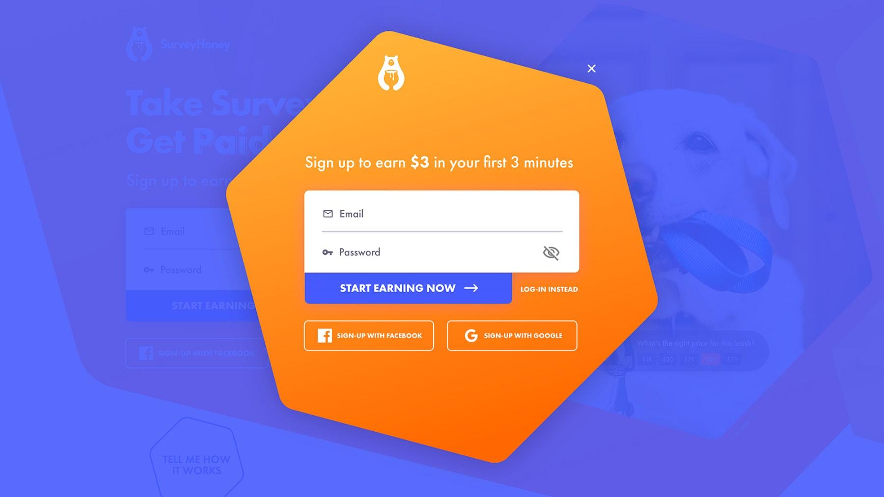 Diseño web del modal del formulario de registro de SurveyHoney por El Patio Webflow Studio.