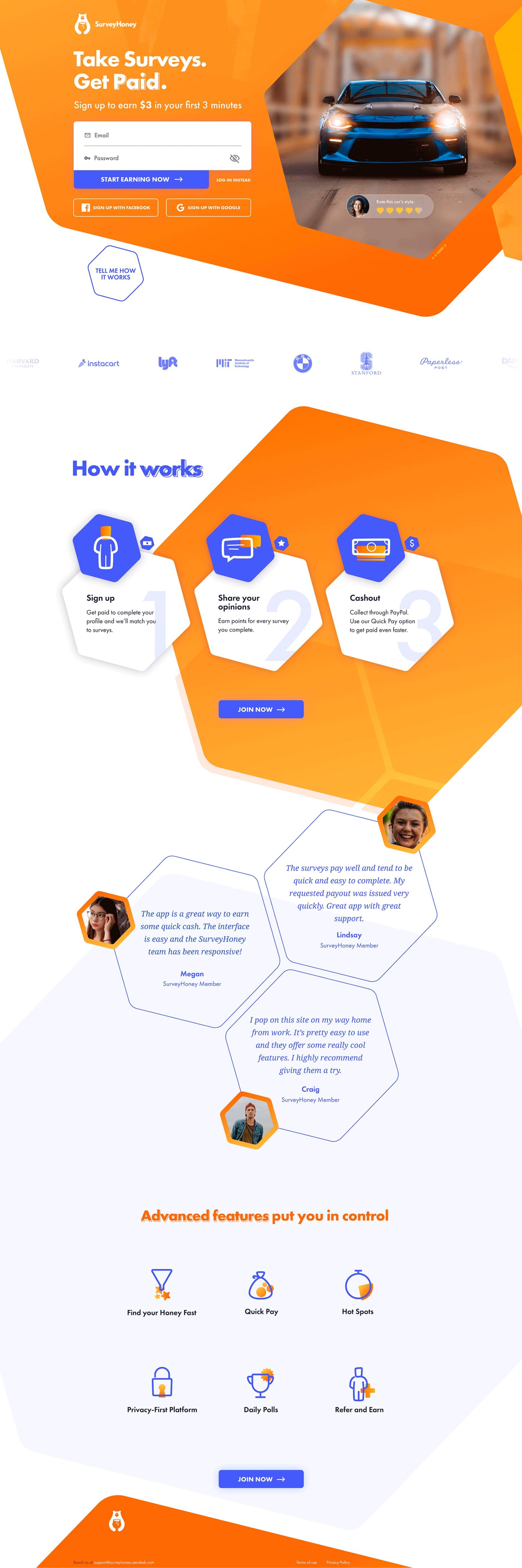 Diseño web de la landing page de SurveyHoney por El Patio Webflow Studio.