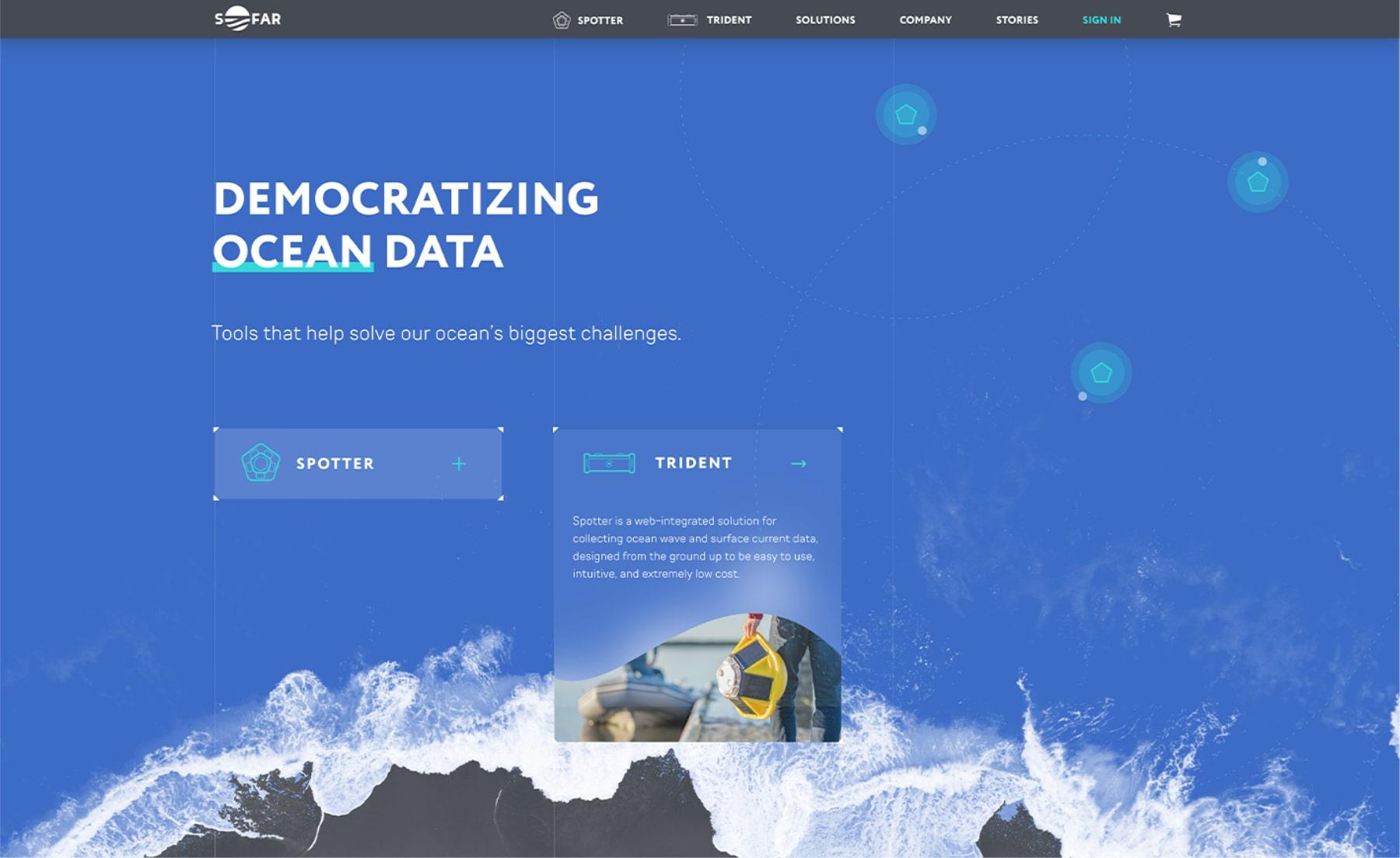 Diseño web de la sección hero de Sofar Ocean por El Patio Webflow Studio