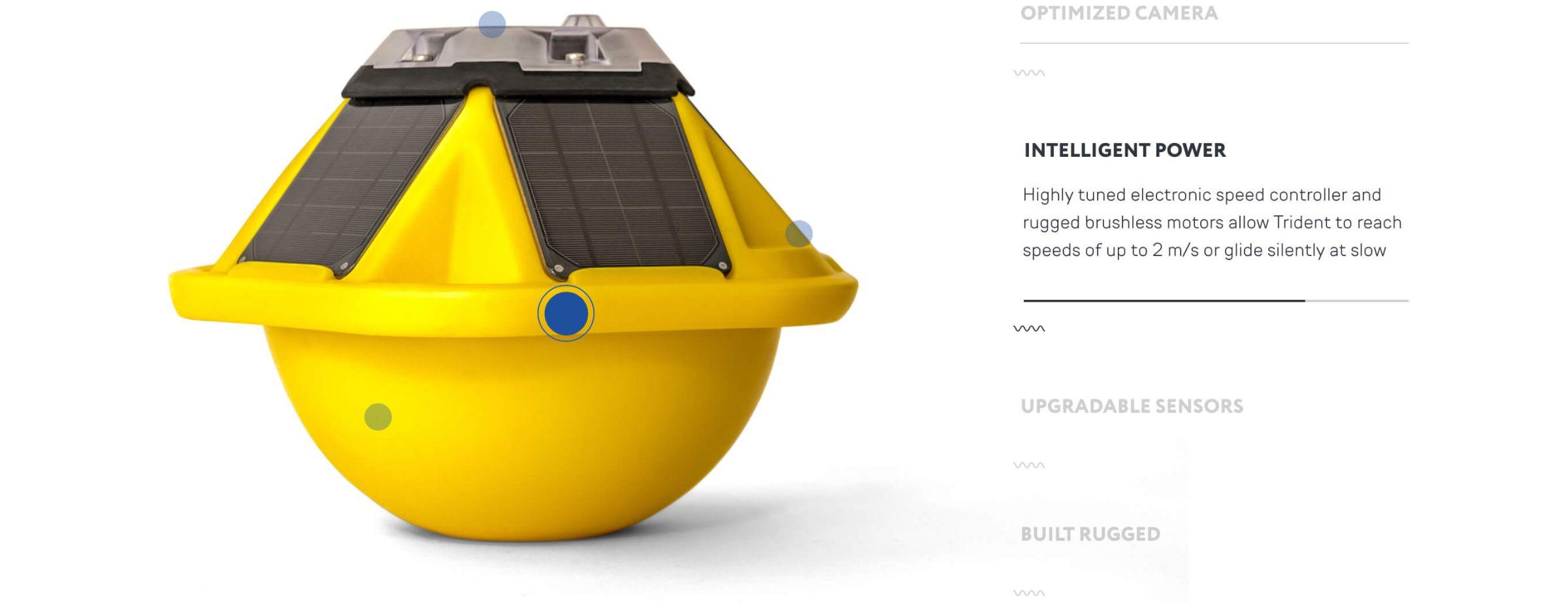 Diseño web de las características de la boya digital Spotter de Sofar Ocean por El Patio Webflow Studio.