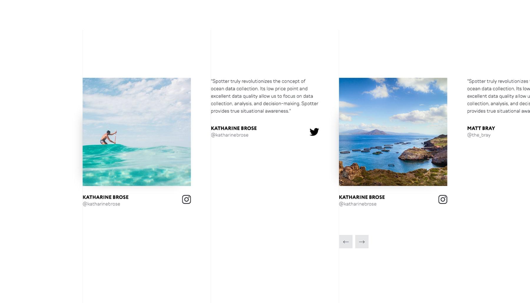 Diseño web de la sección de redes sociales de Sofar Ocean por El Patio Webflow Studio