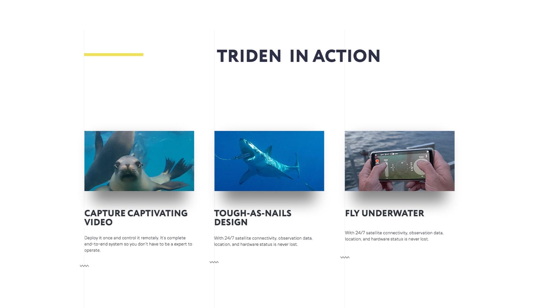 Diseño web mostrando los videos del dron acuático Trident de Sofar Ocean por El Patio Webflow Studio
