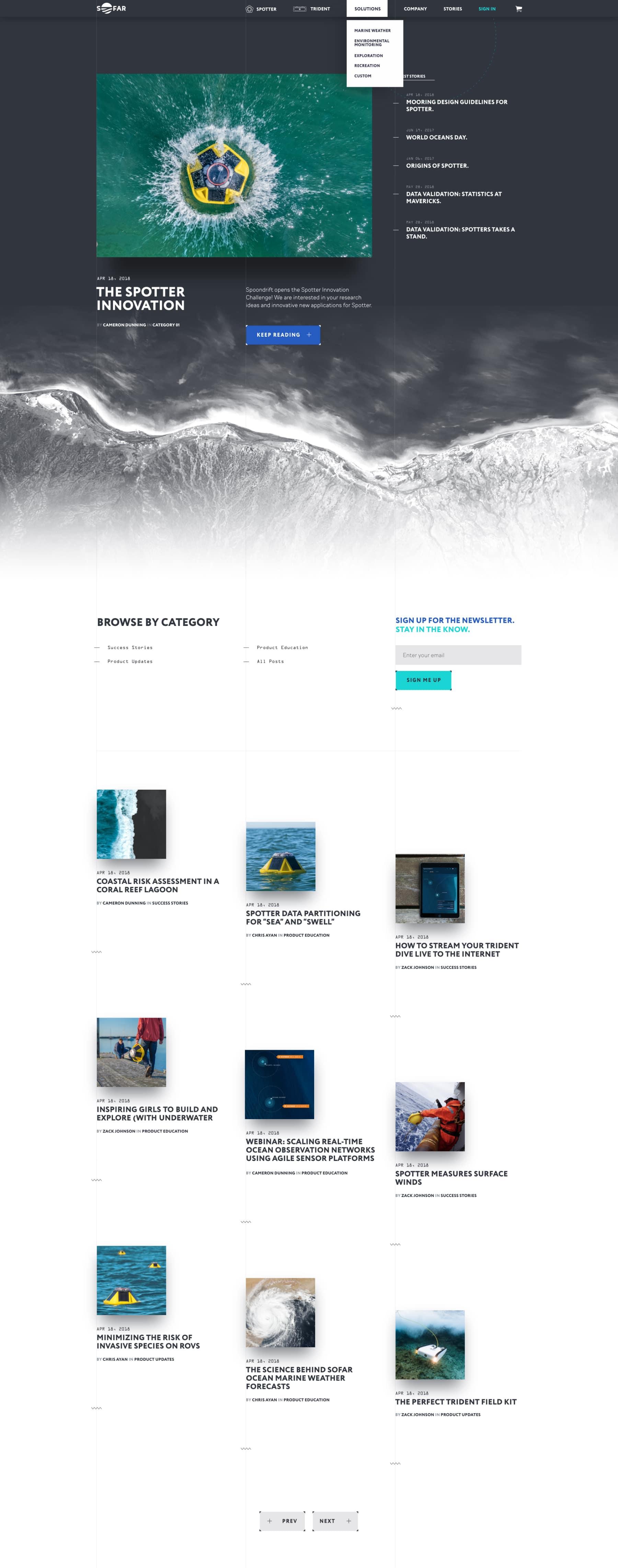 Diseño web del blog de Sofar Ocean por El Patio Webflow Studio