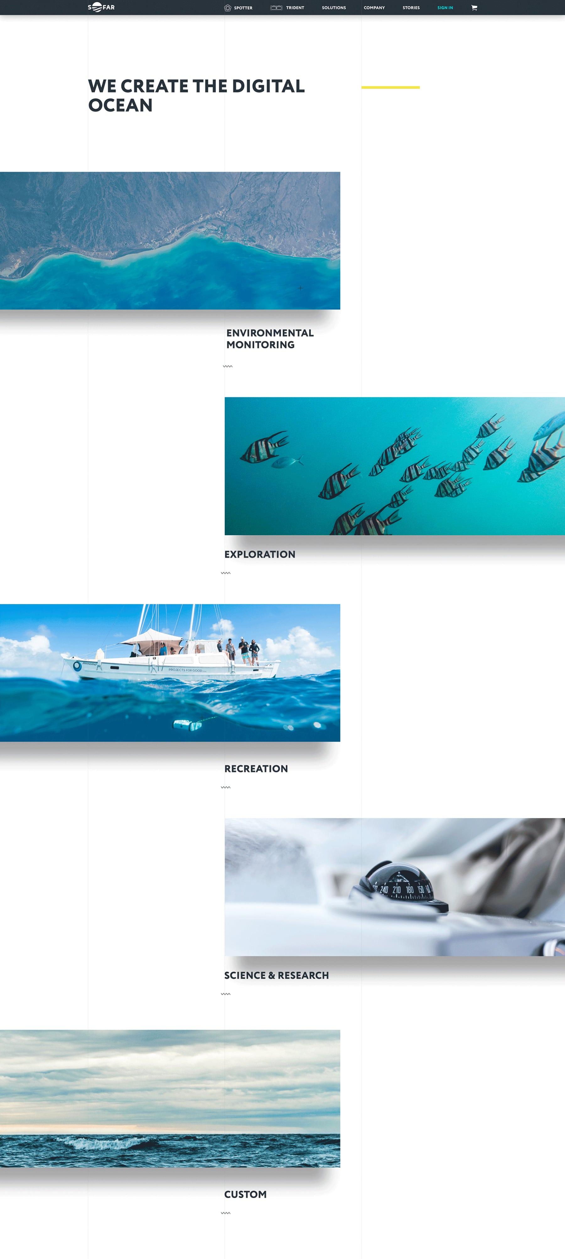 Diseño web del tipos de uso de los productos de Sofar Ocean por El Patio Webflow Studio