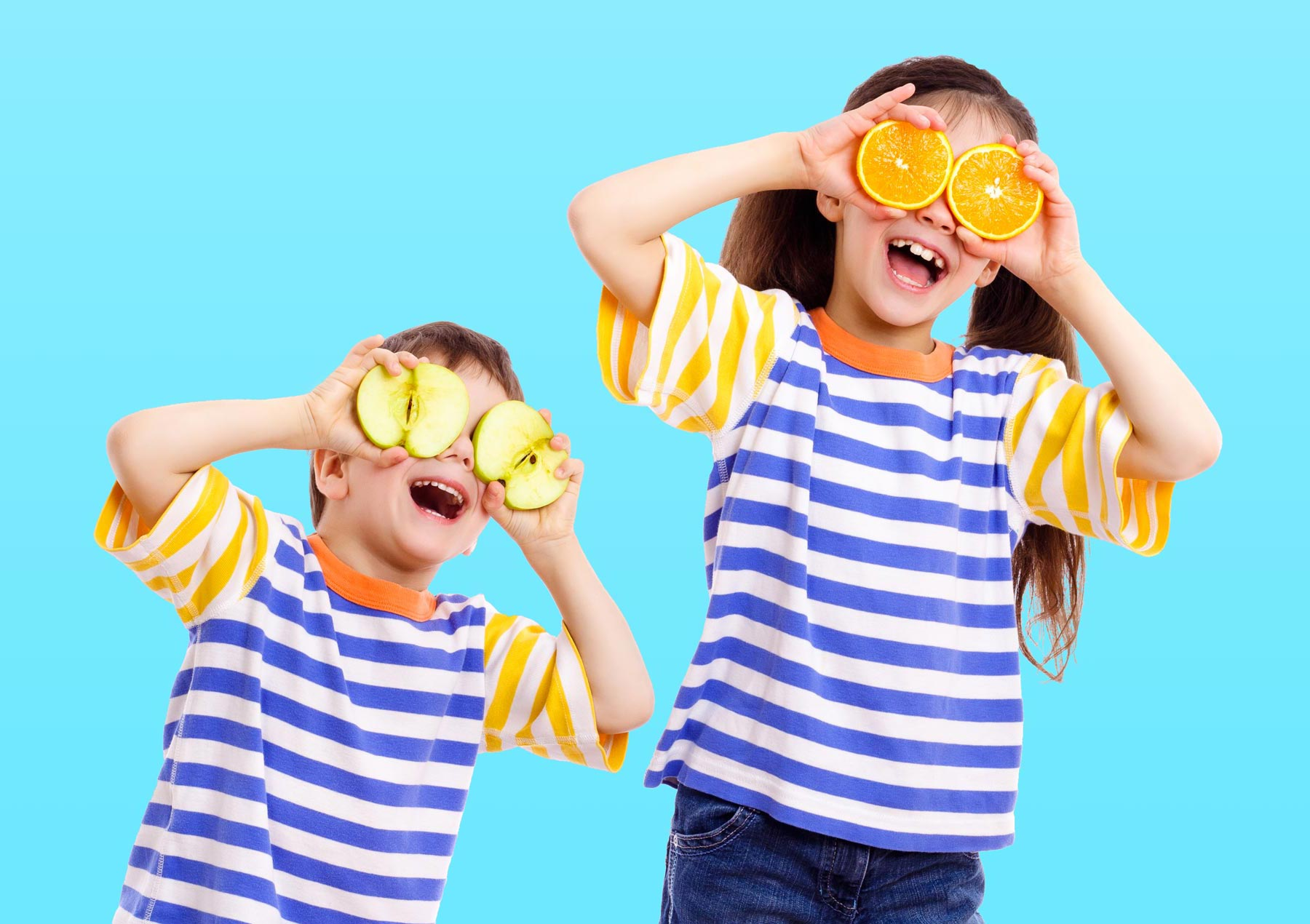 Two Children with Fruit Binoculars Searching for Hunky Dory Products