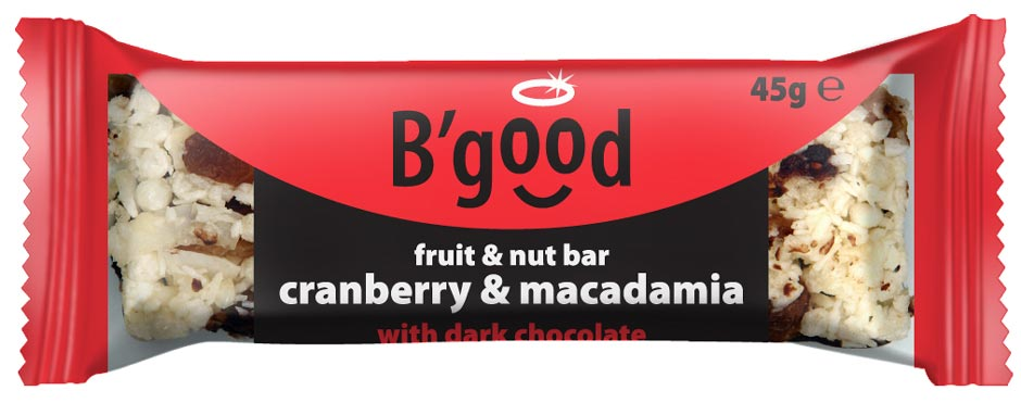 BGood Cranberry & Macadamia Fruit & Nut Bar