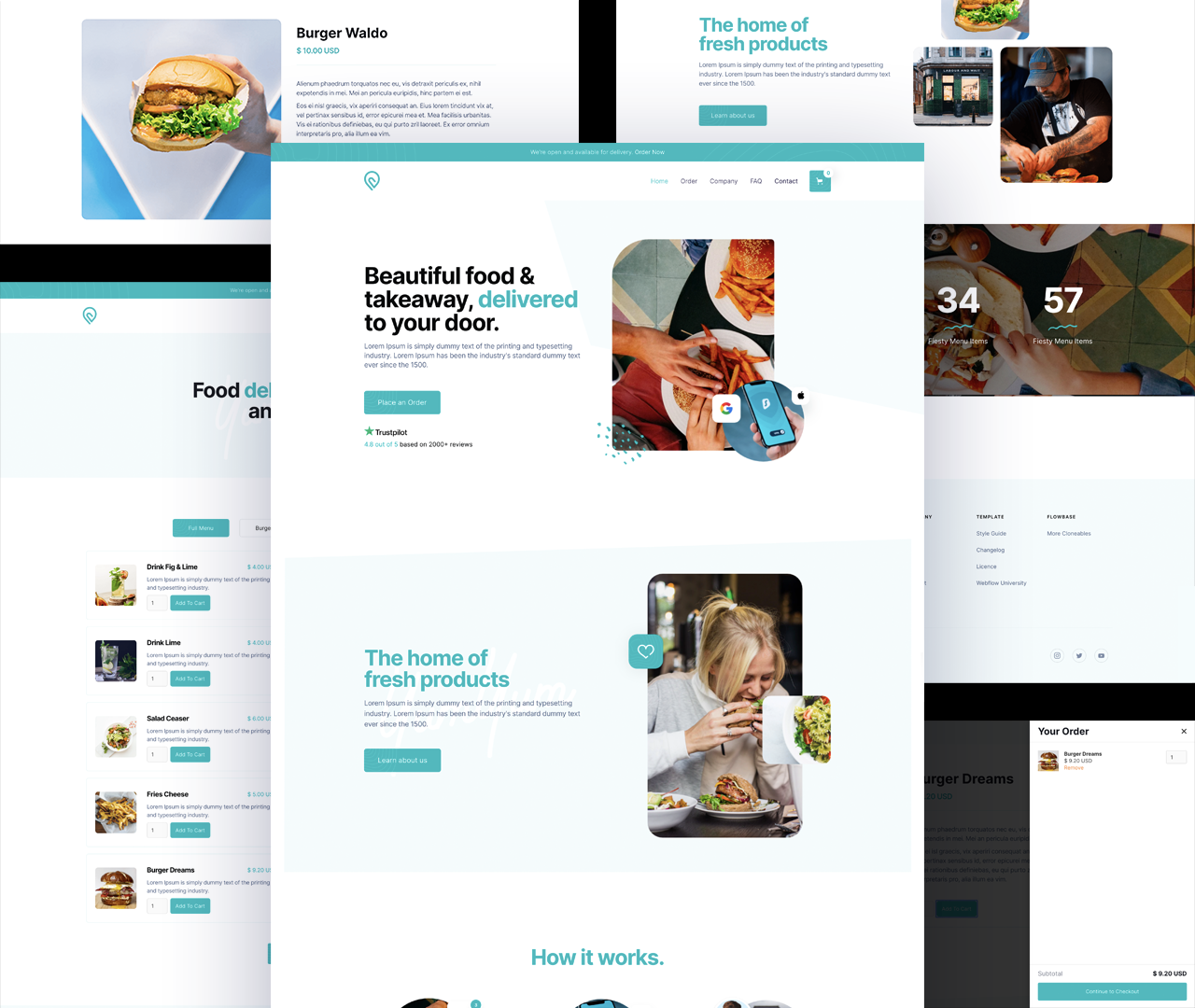 various screens from the restaurant and café Webflow template