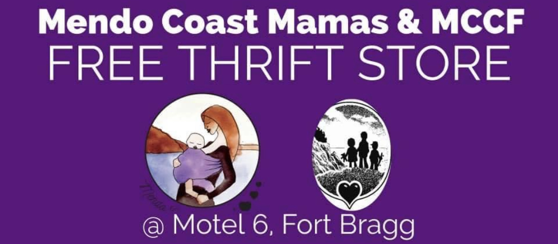 Mendo Coast Mamas Free Thrift Store at Motel 6 in Fort Bragg.