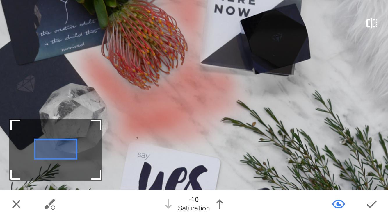 Pintura em efeito de edição seletiva em aplicativo móvel capturado
