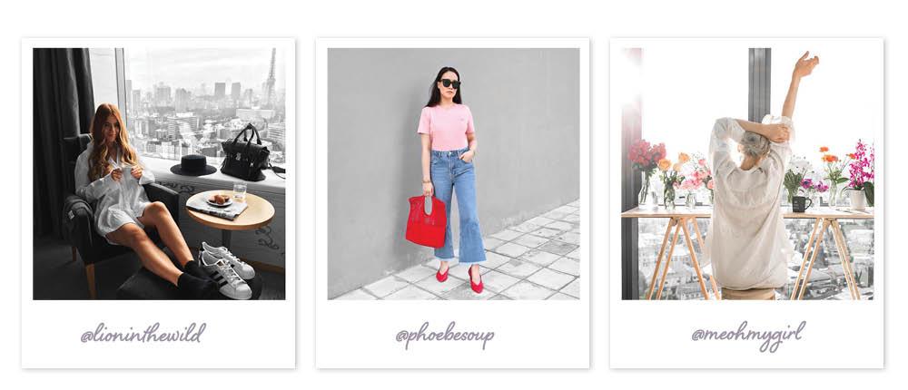 Exemplos de modelos do Instagram com fundos dessaturados