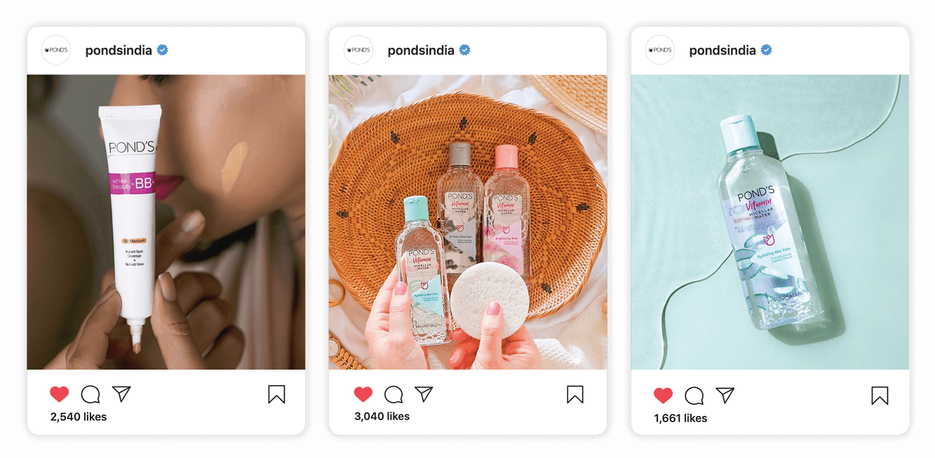 Three examples of how Ponds India gets high engagement of social posts with images by Creatively Squared