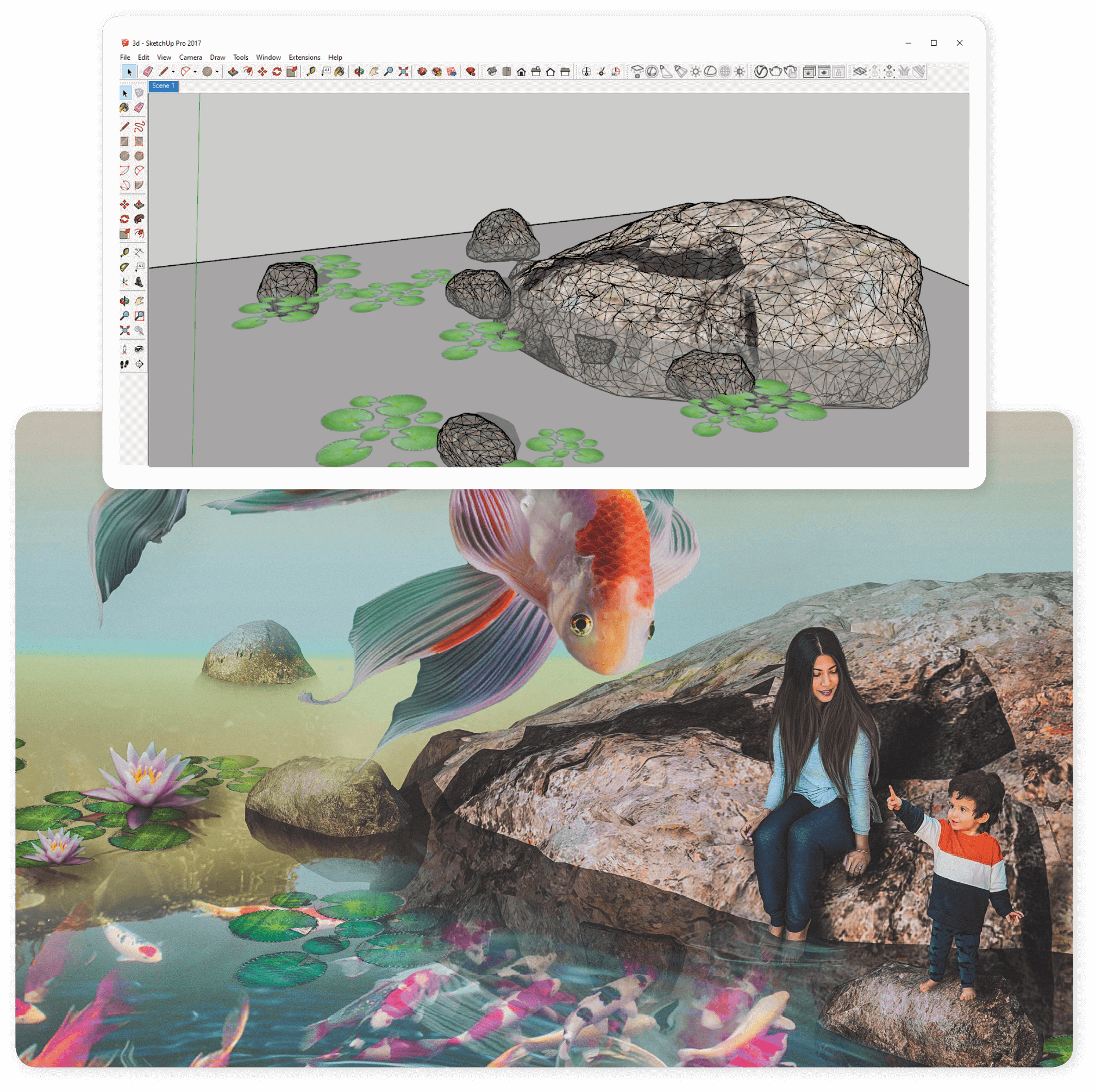 Exemplos de como wireframe no Sketchup é traduzido em imagens compostas acabadas