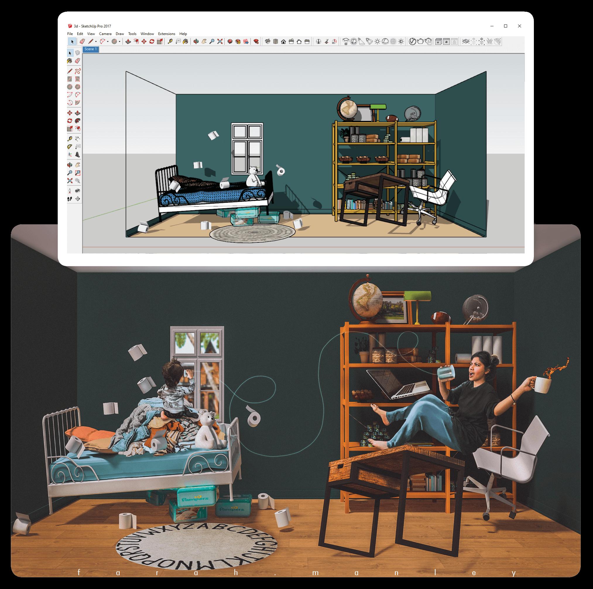 Esboço conceitual em software 3D para arte finalizada composta no Photoshop