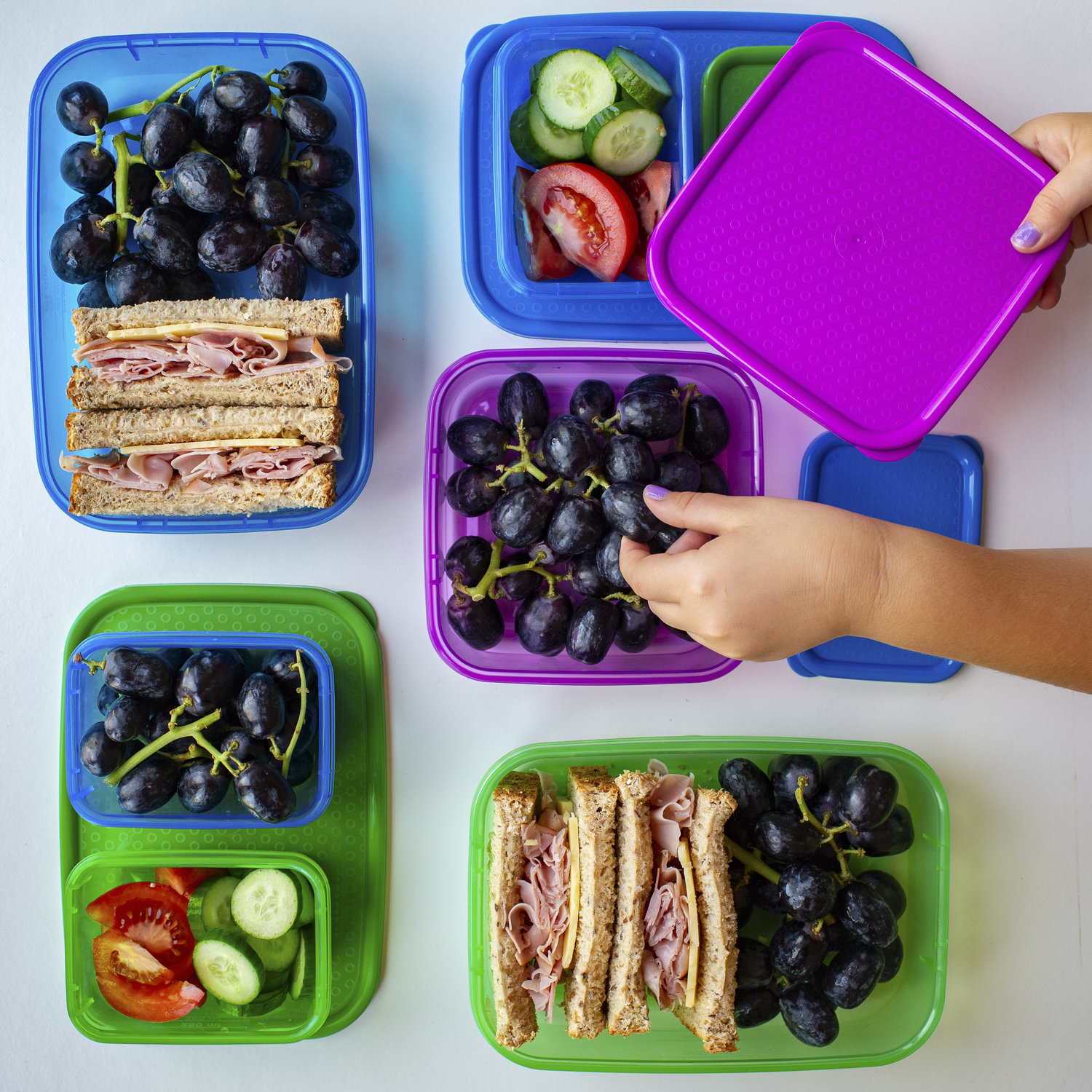 kids lunchboxes filled with fresh fruit, vegetables and sandwich