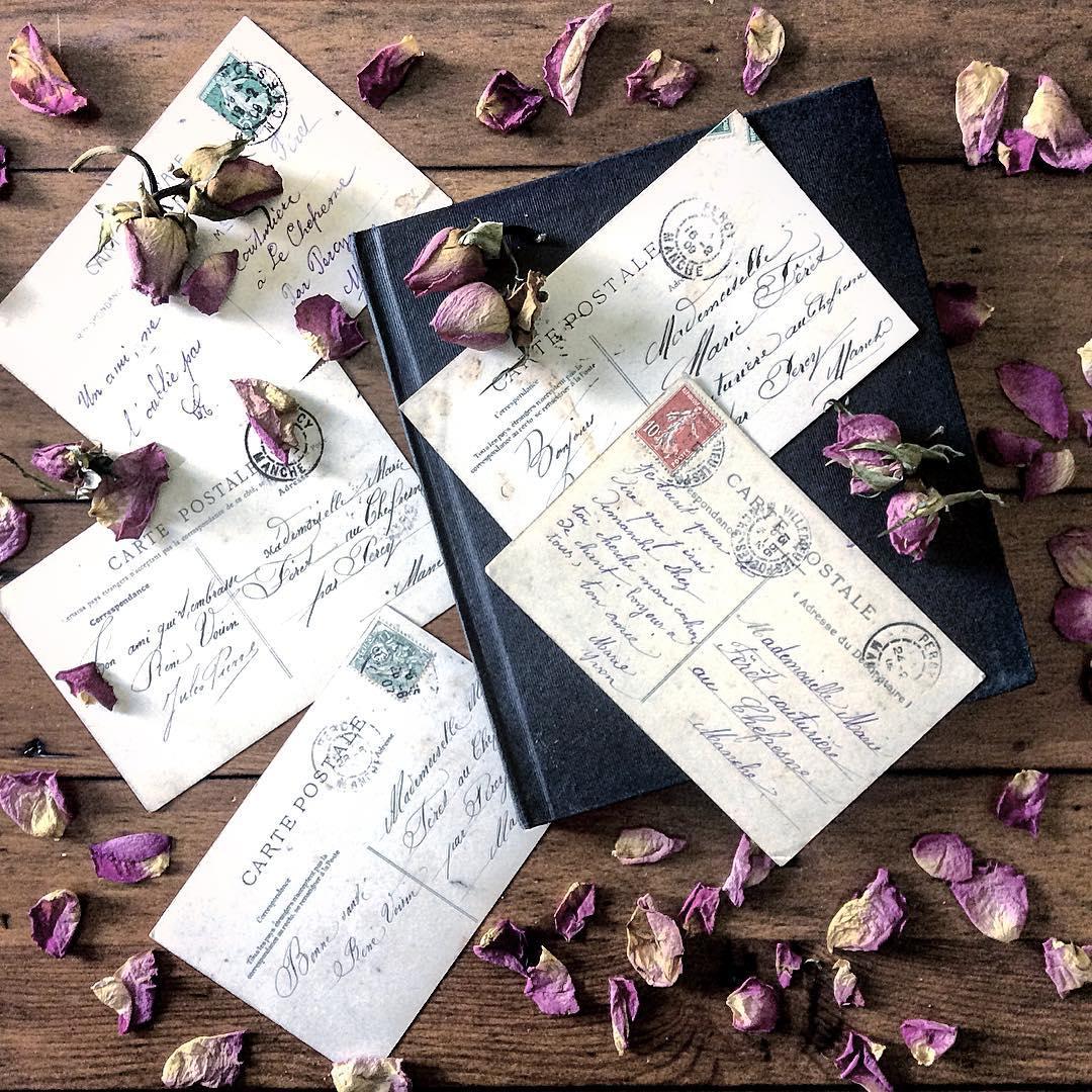postais franceses antigos e botões de rosa