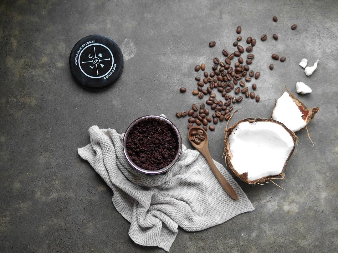 coffee scrub with whole beans and coconut