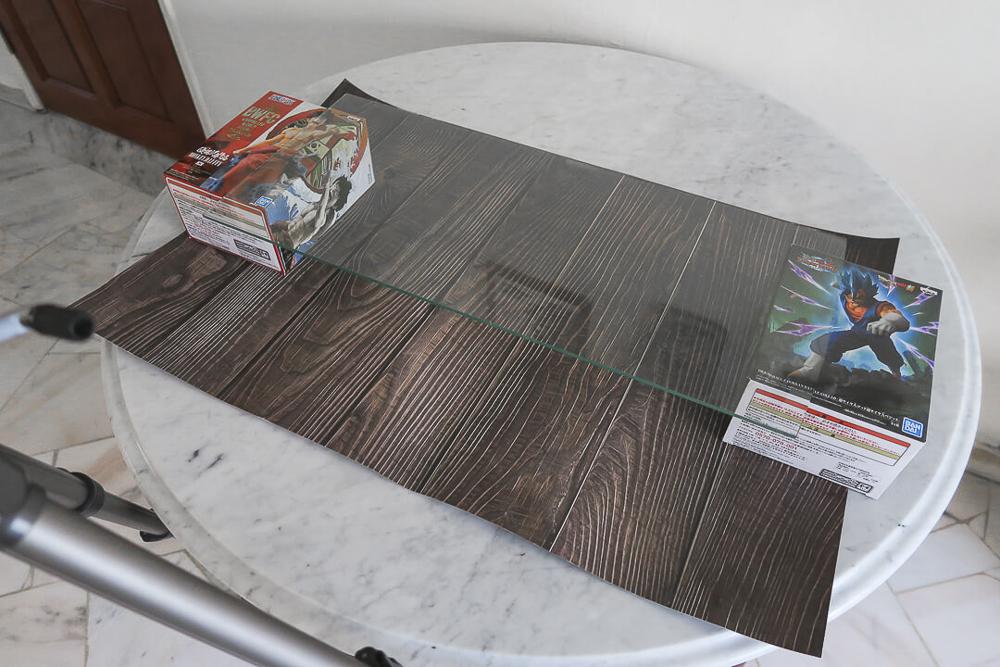 configuração de painel de vidro para tutorial de fotografia de comida flutuante