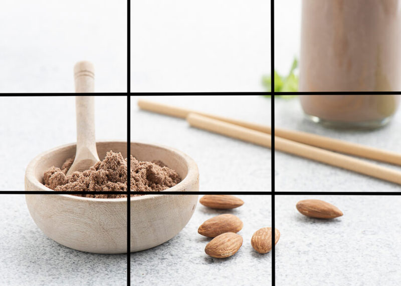 técnicas de composição - fotografia de alimentos - Regra dos Terços