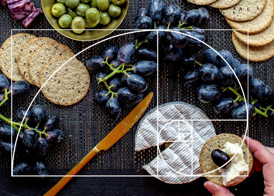 Proporção aurea - fotografia de alimentos - composição