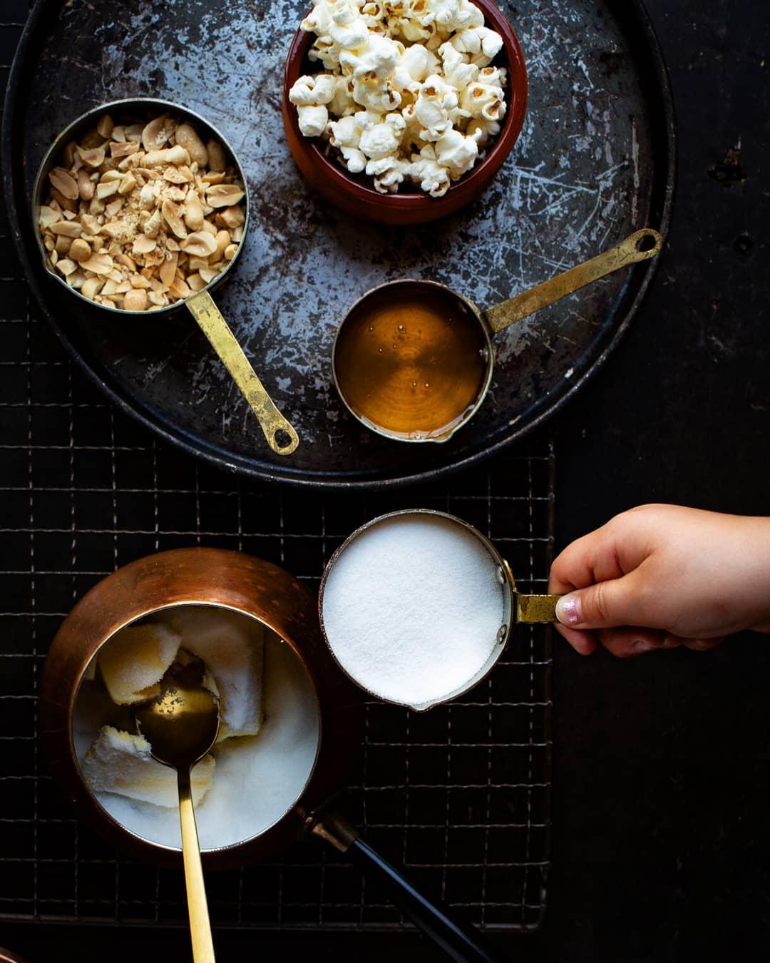 preparing ingredients for candied popcorn