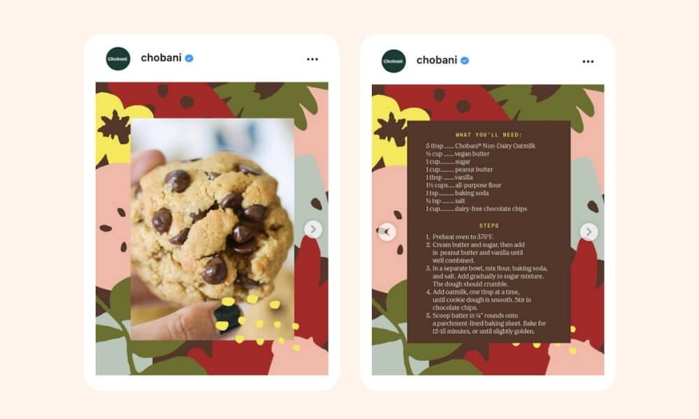 Chobani's Instagram post of rich choco chip cookie with the list of ingredients and steps on the second image