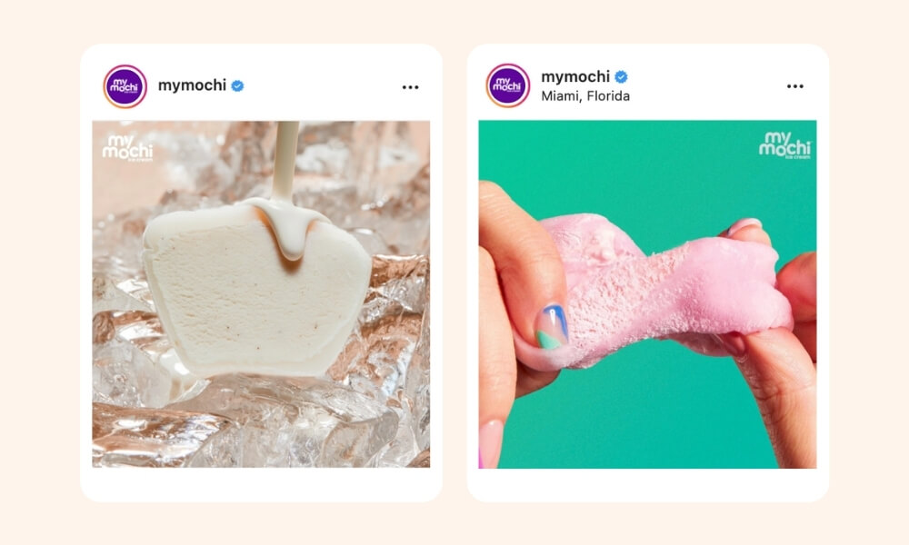 My Mochi's Instagram post of vanilla flavored mochi set on ice backdrop and stretched pink mochi on blue-green background on the second image post