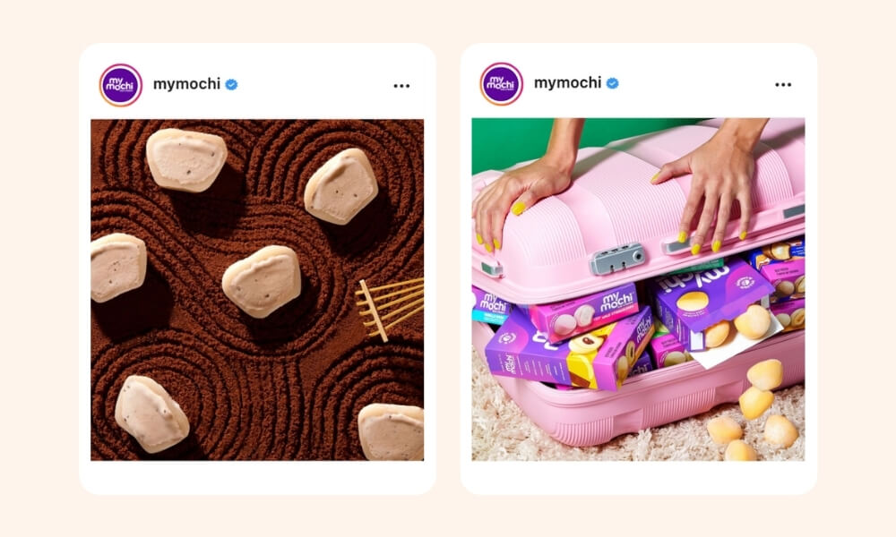 My Mochi Instagram post of chocolate flavored mochi placed on raked cocoa for effect and hands of a lady closing a pink baggage with overflowing mochi boxes inside on the second image