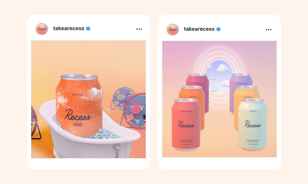 Recess Instagram post of canned drink placed inside a miniature bath tub with fake ice surrounded by mini fans and six Recess canned drinks formed in two columns, three per column with a circular white rainbow effect and scattered clouds in the middle