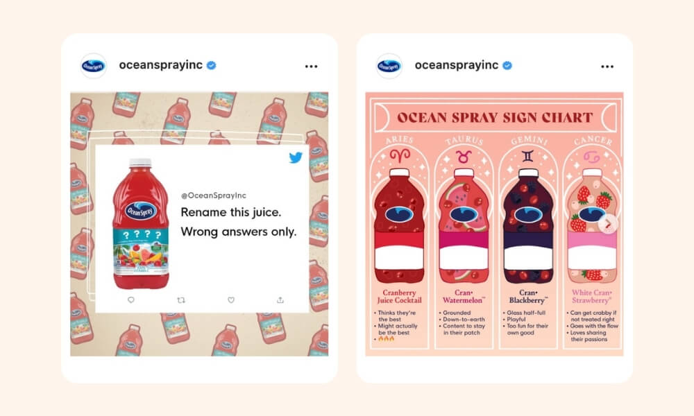 Ocean Spray Instgram post with a snip of a Twitter post with bottled drink and Ocean Spray sign chart on the next image