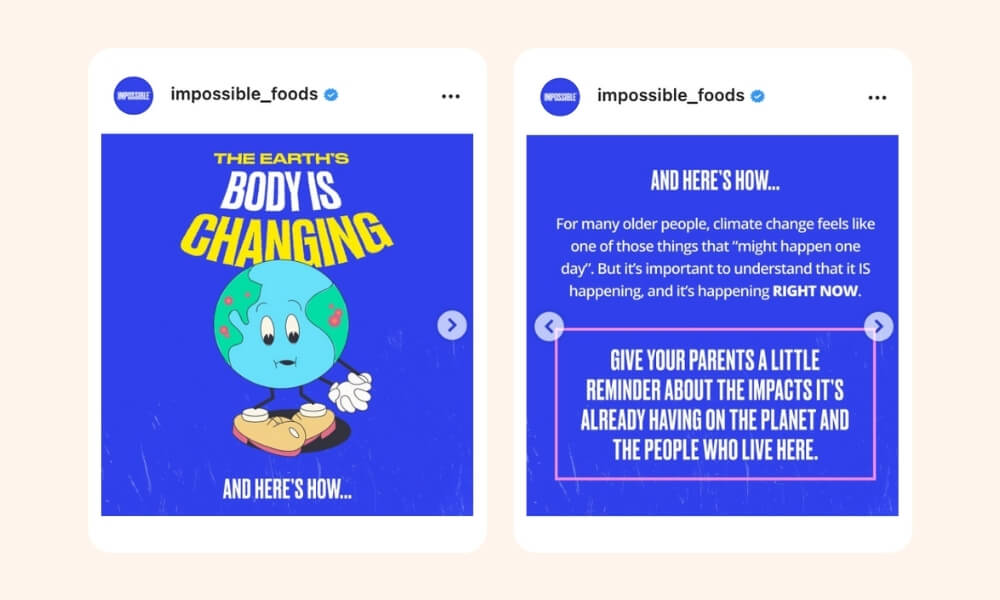 Impossible Instagram post of Earth's body awareness and the information of the topic on the second image with royal blue background