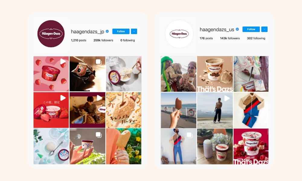 Häagen-Dazs Instagram page with different product posts