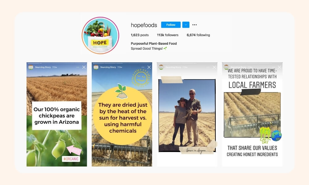 Hope Foods Instagram post and stories of different products and shared values
