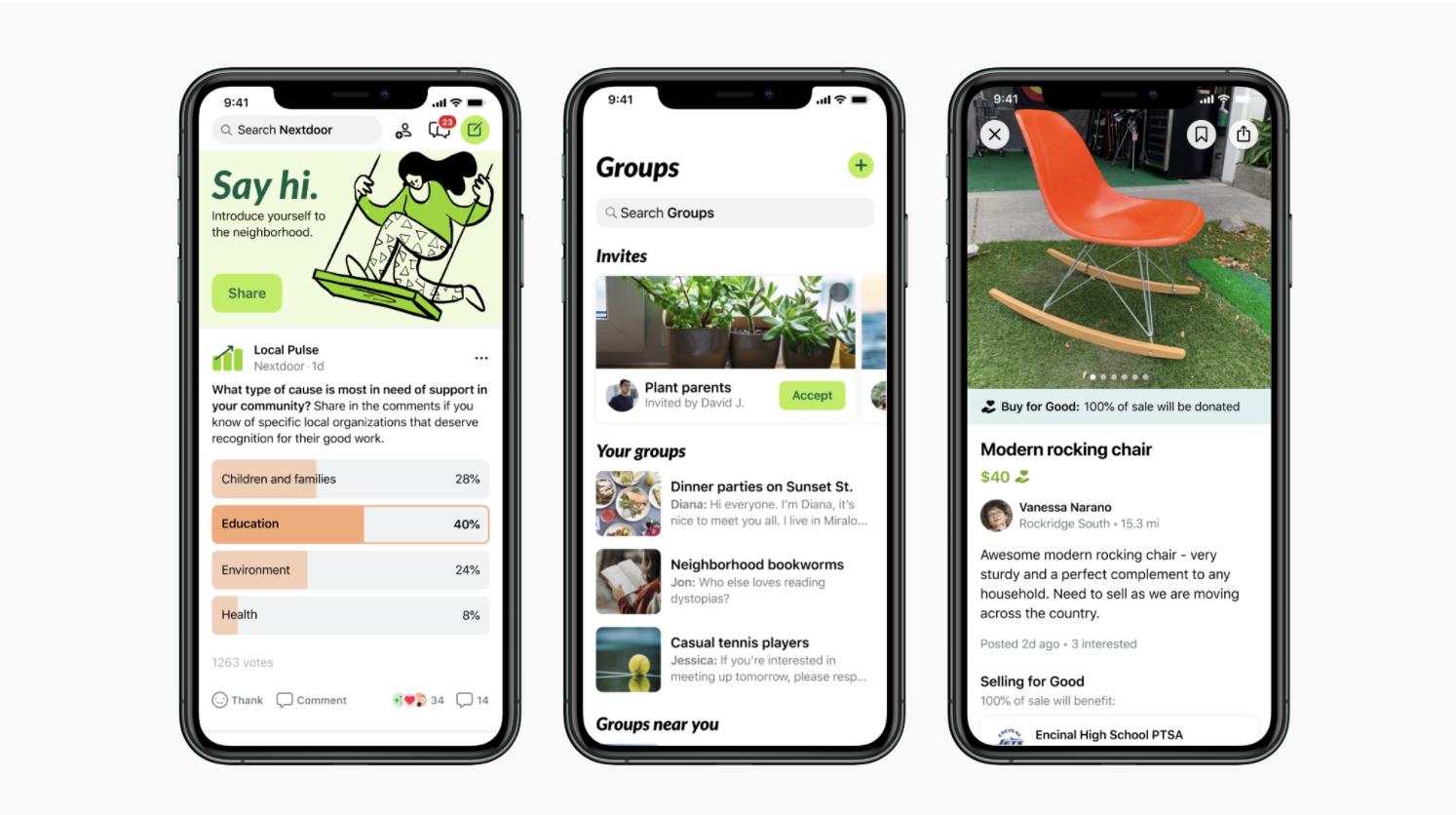 Nextdoor Generic App screens