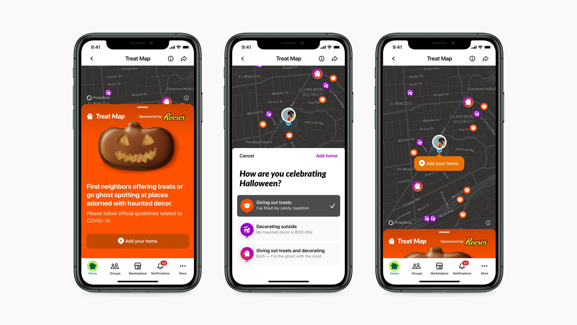 Nextdoor Treat Map App screens