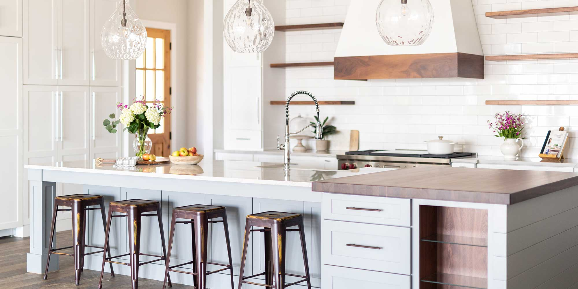 Kitchen seating with butcher block countertop