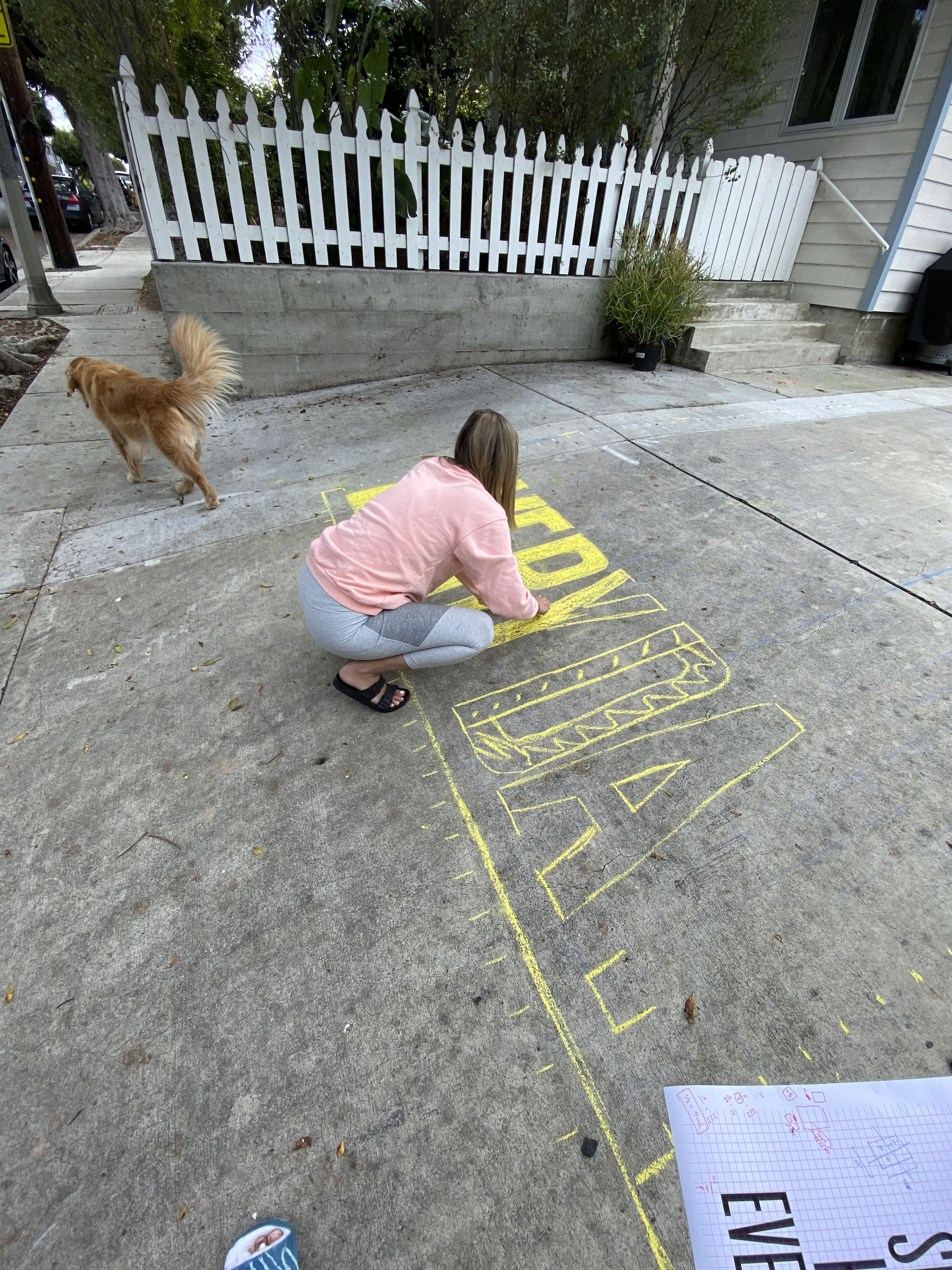 sun shines here every day drawing in chalk